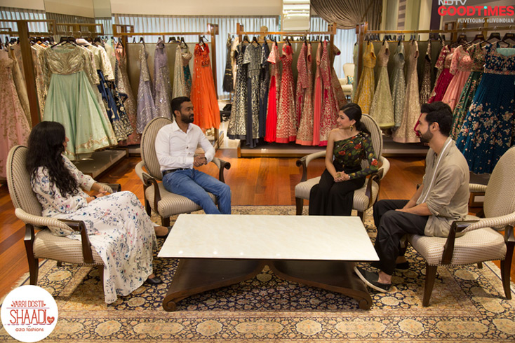 With the help of our chief stylist, Devangi Parekh at Aza, Pradeep and Diwiya pick out their sangeet outfits.