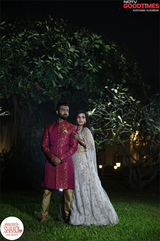 Pradeep and Diwiya look absolutely stunning in their Aza outfits designed by (----) and (----).