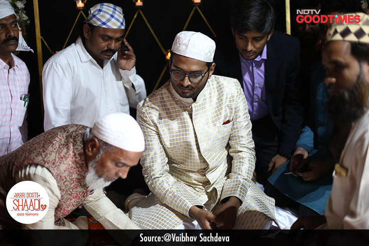 The Nikaah ceremony is essentially the groom's formal proposal as well as the couple's acceptance of the marriage contract. Areef listens carefully to the maulvi as he reads out the contract.