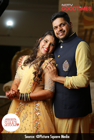 Jagdish and Padma complement each other perfectly in their Sangeet outfits from Aza