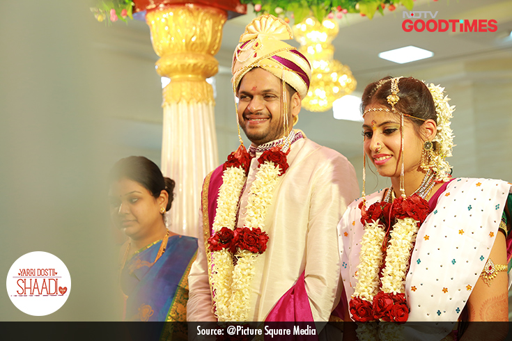 With their wedding ceremonies coming to an end, Padma and Jagdish smile ear to ear, beaming with happiness.