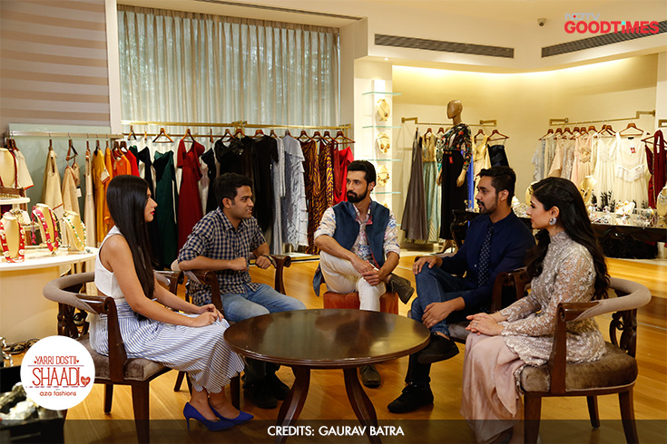 When Megha and Mayank visited Aza Fashions, they were in for a surprise. They came by expecting Devangi to style them for their Mehendi. But she went a step ahead and also roped in Bollywood celebrity stylist Mohit Rai to help them with their Bachelor party styling. The couple was elated!