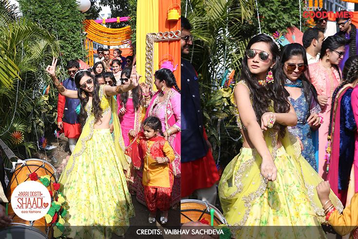 Not just your demure bride, Megha shows the world who she really is! She enters her Mehendi event in a gorgeous floral lehenga from Aza Fashions, with dance in her steps and a song on her lips. (images 6a and b in a split screen)