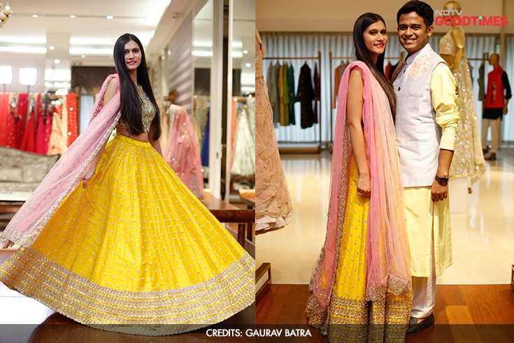 No pink for her or blue for him, Megha loves her yellows and Mayank is only too happy to go with the flow! And these are just one of their shortlisted Mehendi outfits. To see what they wore at the event, click on.