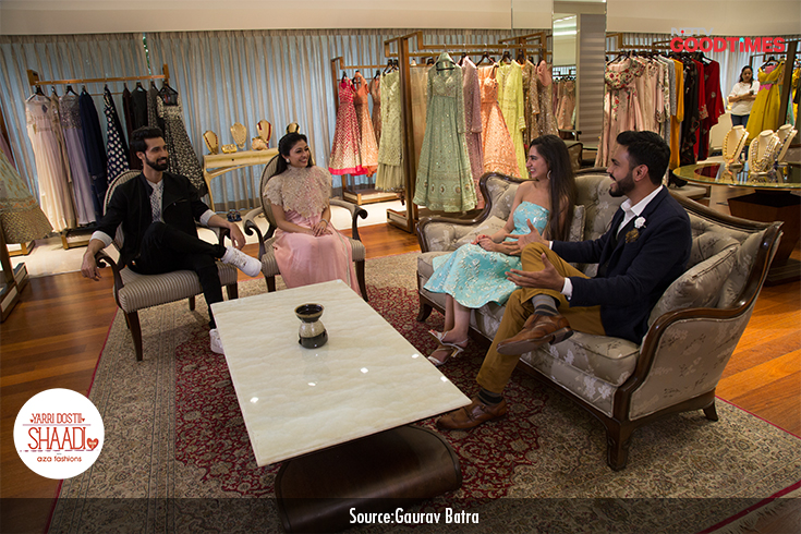 How can our couple's wedding be complete without beautiful outfits from Aza? Our chief stylist, Devangi Parekh helps Ankit and Anvita select their Sangeet outfits before their big day.