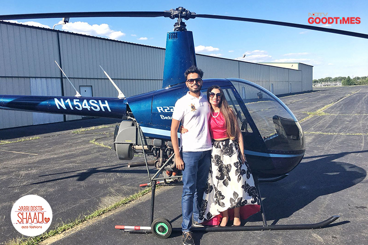 On Anvita's birthday, Ankit surprised her with a chartered helicopter ride on which he proposed marriage. And of course, she said yes!
