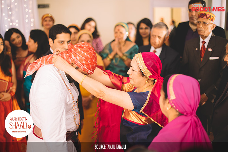 "The wedding celebrations are initiated when Jahnavi and Vikram's mothers put a coral and gold beaded necklace called the ""Havala male"" around the groom's neck and ""Pathak"" which is the Kodava mangalsutra that the bride wears. This marks their status as the to-be-weds."