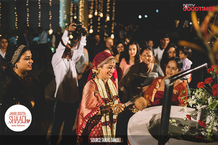 "With the couple finally becoming husband and wife, the ""Ganga puje"" happens. Jahnavi breaks a coconut near the groom's house well which symbolizes her becoming a part of the groom's family and sharing household responsibilities."